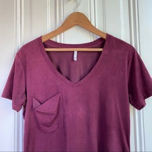 Z Supply Maroon Faux Suede Pocket T- Shirt